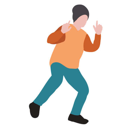 child in flat style, boy dancing