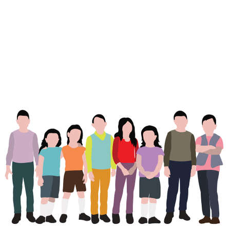 vector, isolated, child in flat style, set of children stand without face Иллюстрация
