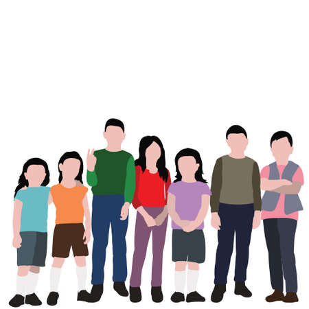 isolated, child in flat style, set of children stand without face