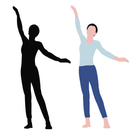 silhouette of a child and a girl in flat style dancing