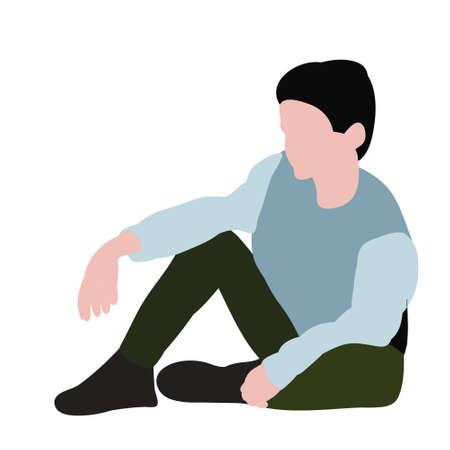 child in flat style, boy sitting Иллюстрация