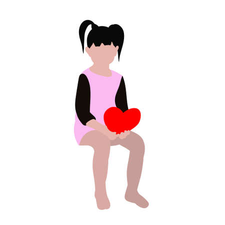 isolated in a flat style, girl sits