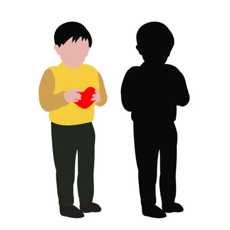 vector, isolated, flat style and silhouette of a child boy with heart
