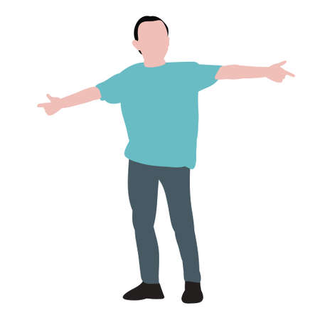vector, isolated, child in flat style, boy rejoices