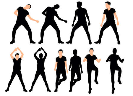 Vector illustration silhouette of a beautifully dancing man, collection