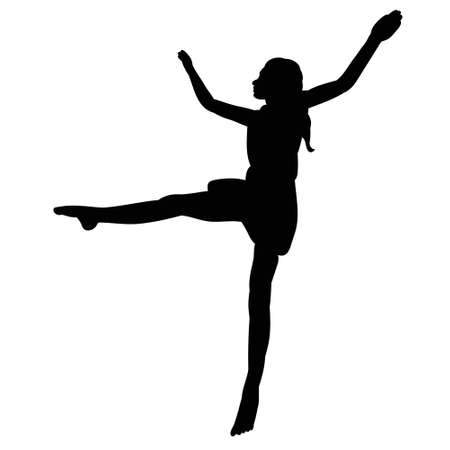 vector isolated black silhouette girl dancing beautifully