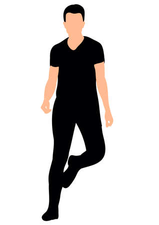 Illustration, vector young guy dancing