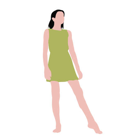 vector isolated child in flat style, girl
