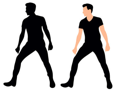 Vector illustration of a silhouette of a dancing guy
