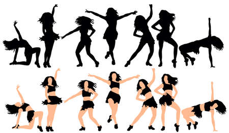 Vector, ilustration, silhouette of a sexy girl dancing big collection