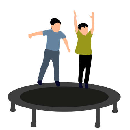 boy jumping on a trampoline, icons, concept of childhood
