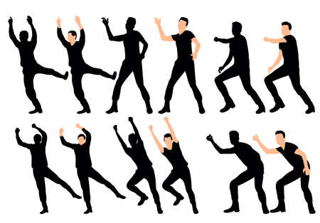 vector, silhouette guy dance collection