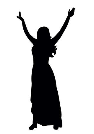 Vector, silhouette of a girl dancing at a party