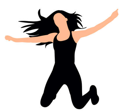 Silhouette of a girl dancing,