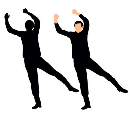 Guy dancing silhouette vector, illustration
