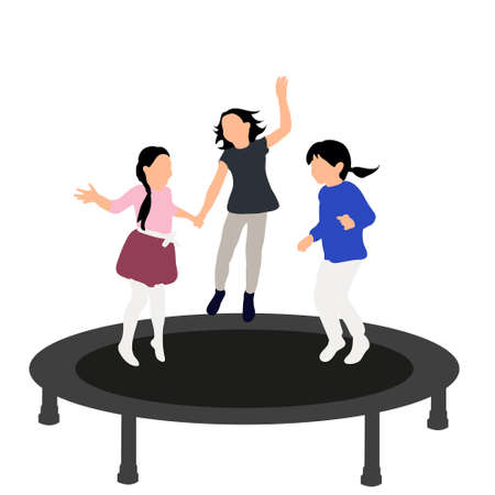 little girls jumping on trampoline, icons, concept of childhood