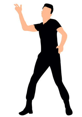 Illustration, vector silhouette of a man dancing