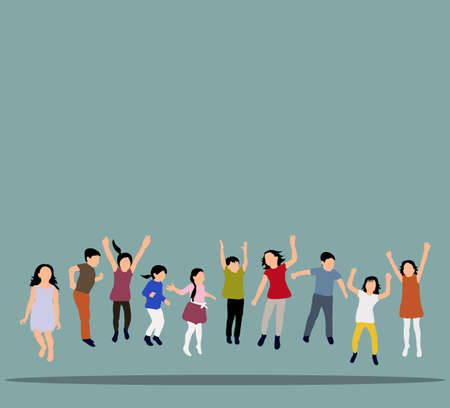Vector illustration of happy children jumping, icons, concept of childhood, friendship, flat style, isometric people