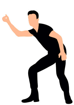 vector silhouette of a guy dancing