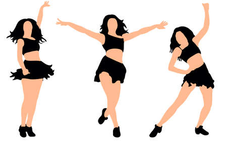 Vector, illustration, silhouette of dancing girl, collection
