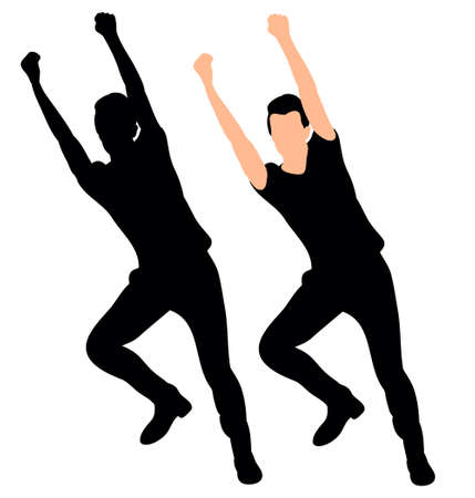 Silhouette of a guy dancing vector illustration