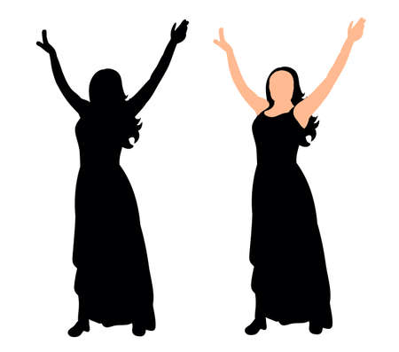 Vector, illustration, silhouette of a girl dancing at a party