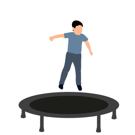 Vector illustration of a boy jumping on a trampoline, icons, concept of childhood