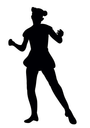 silhouette of a girl dancing at a party Ilustração