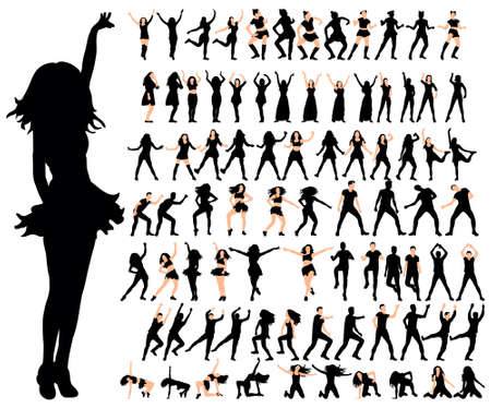 Silhouette of girl beautifully dances vector and artistic collection