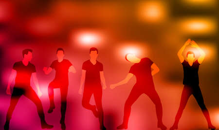 vector, group of dancing people, silhouettes, disco