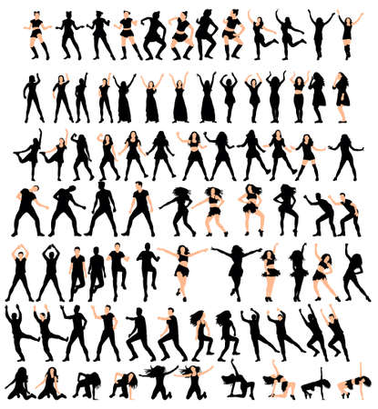 Illustration, vector silhouette of girl and guy dancing, collection Vetores