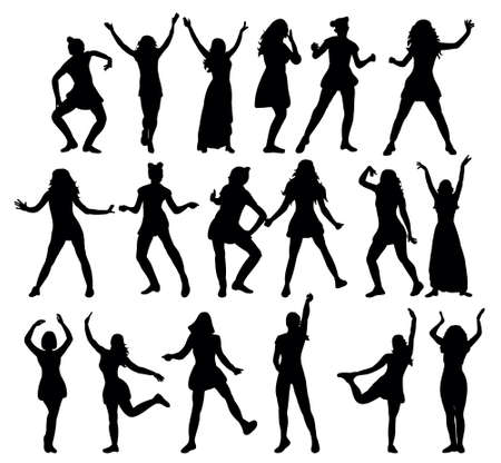 Silhouette girl dancing, vector illustration of collection