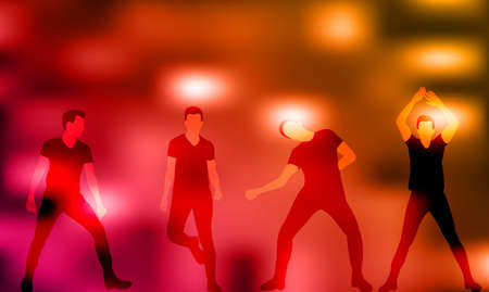 Illustration, vector, group of dancing people, silhouettes, party