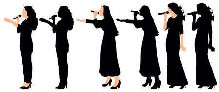 Silhouette girl singing an illustration collection Ilustración de vector