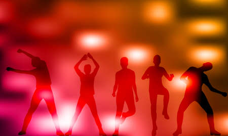 Illustration, vector, group of dancing people, silhouettes, disco