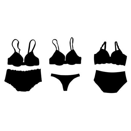 isolated black silhouette of female underwear, bra and underpants