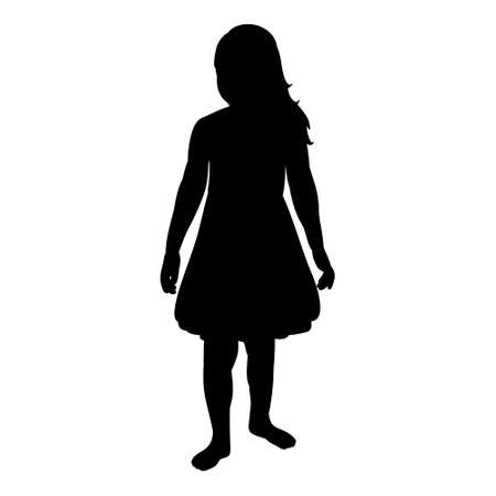 isolated, black silhouette of a child, girl, on a white background