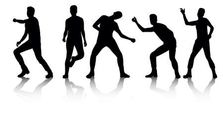 vector, group of dancing people, silhouettes Ilustración de vector