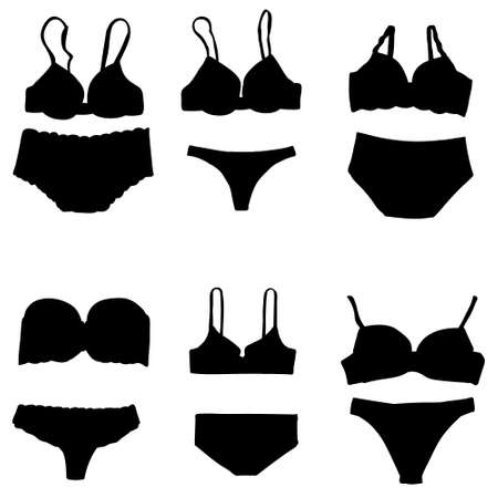 vector, isolated, black silhouette of lingerie, underpants and bra, set