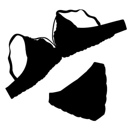 black silhouette of female underwear, bra and underpants