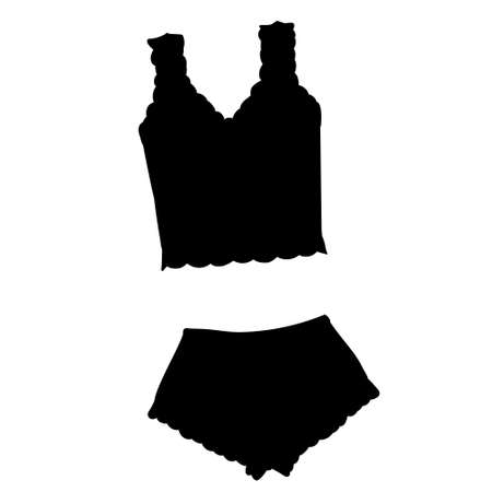 vector, isolated, black silhouette of lingerie, underpants and bra