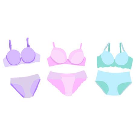 vector, isolated, lingerie, bra and underpants, set Illusztráció