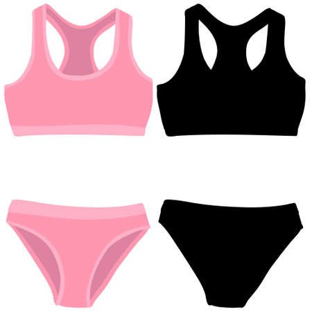 lingerie, underpants and bra with silhouette illustration Stock Illustratie
