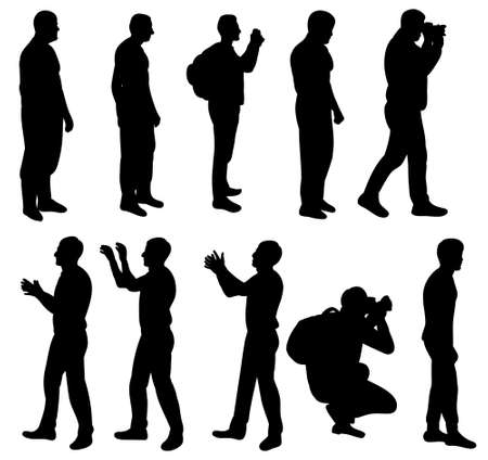 Vector, silhouette man collection illustration