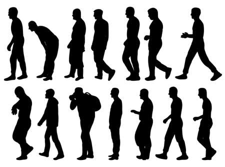 collection of silhouettes of men go sideways illustration