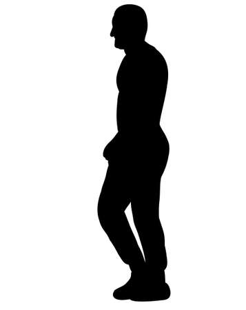 isolated, silhouette man walking sideways illustration