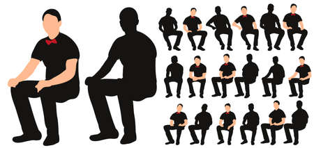 Vector, isolated silhouette of man sitting, with bow tie, collection of sitting men Illustration