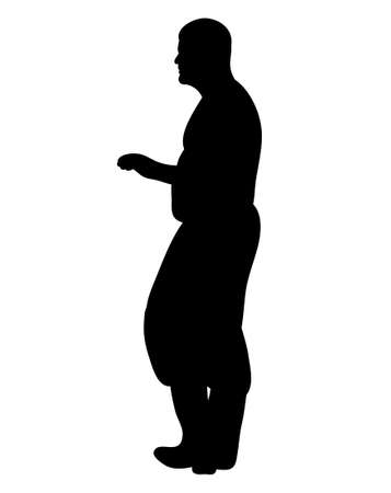 Vector, isolated silhouette man stands sideways
