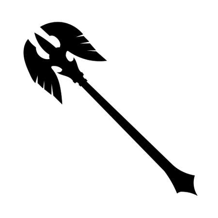 vector, isolated on a white background, poleax silhouette