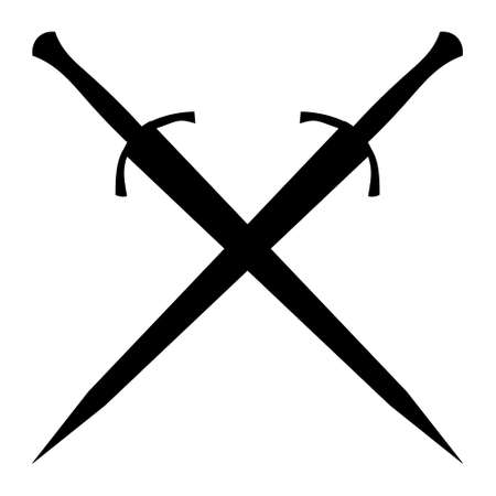 isolated on a white background, silhouette of two swords, sabers